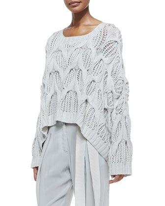 Donna Karan Cashmere Oversized Boat-Neck Sweater & Pleated Cuffed Sash-Belt Pants