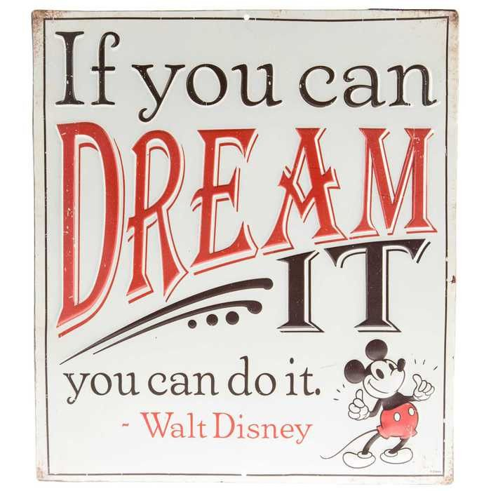 Dash your walls with some unbearable cuteness with If You Can Dream It Mickey Mouse Tin Sign. Featuring a classic Mickey quote and a vintage Mickey character at the bottom, this adorable sign will be
