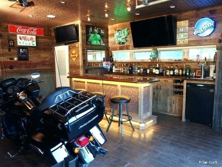 Harley Davidson Garage Decorating Ideas Man Garage Rustic Man Cave Man Cave Bar