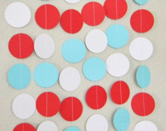 Kids Vintage Circus Carnival Red White Aqua Party Decoration Paper Garland Birthday Party, Nursery, Baby, Bridal Shower 10 feet