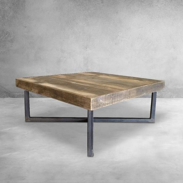 Reclaimed Wood And Metal Coffee Table Crossed Tube Steel Legs