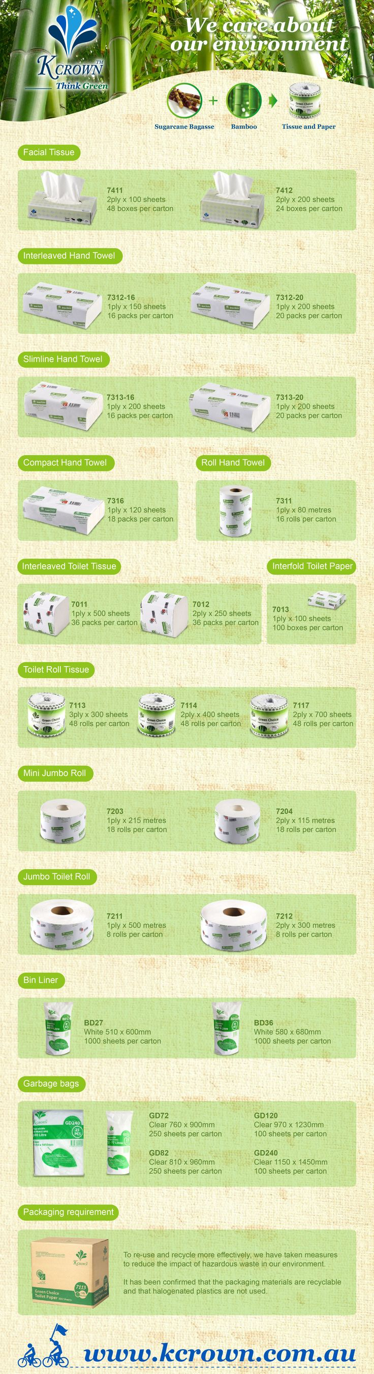 The range of KCrown's environmentally-preferable tissue products.