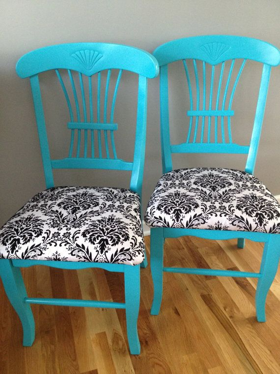 Refurbished Wooden Chairs / Turquoise / Black & White Damask Pattern Upholstery / Fanned Shell Detail / Set of 2 / 5% Donated to HRC