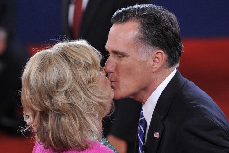 ann and mitt romney kissing   Mitt Romney kisses his wife Ann after the debate in New York