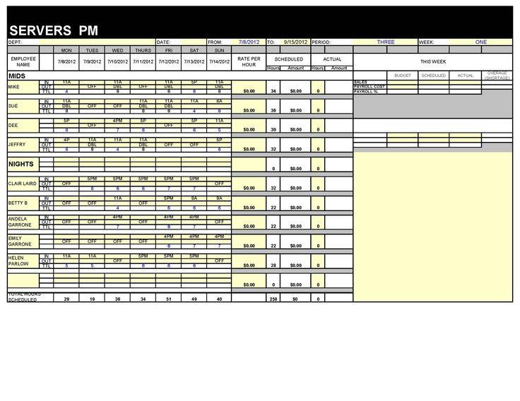 Restaurant schedule master form.