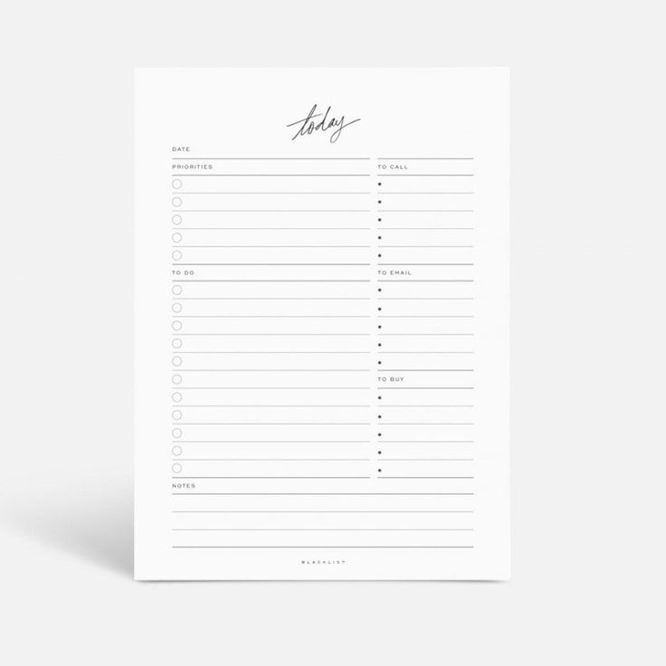 Today notepad. 170 x 240 mm. 60 tear-off pages with priorities, to do list, notes, to call, to email and to buy. 120gsm uncoated paper stock. Leather bound cove