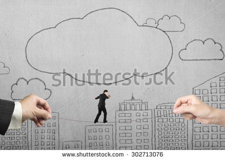 Businessman balancing on tightrope with man and woman hands holding two sides, on doodles concrete wall background.