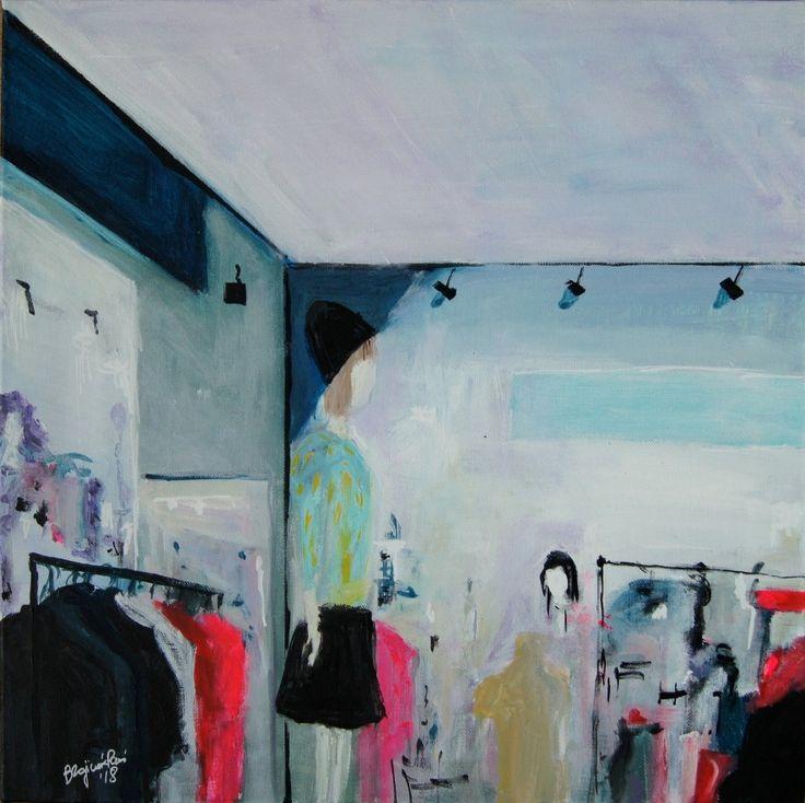 """Shopping landscape"" original contemporary painting by Bożena Zajiczek-Panuś. Painting invites viewer to discover their own interpretation of fashion, beauty & contemporary lifestyle. #contemporaryart #fashion #fashionpainting #fashionillustration #art #womenart #artlovers #decor"