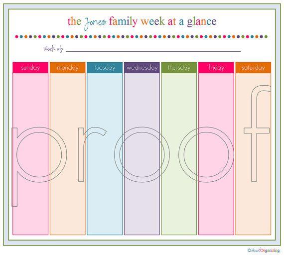 Personalized Peek At The Week Printable Organizing