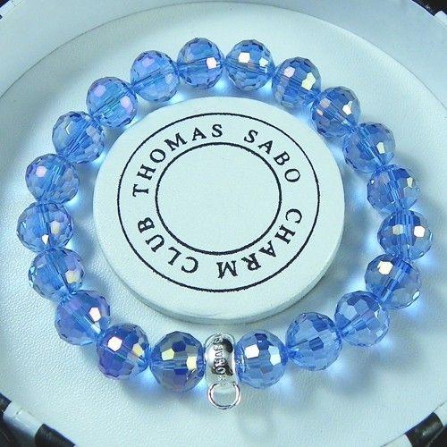 Thomas Sabo Bracelets Cheap Reconstructed Crystal Stretch Bracelet Blue - A