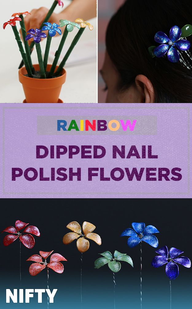 Rainbow Dipped Nail Polish Flowers
