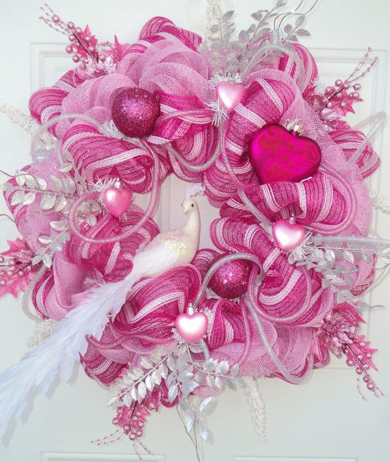 Valentine Wreath Peacock Deco Mesh by ViennaSparkleWreaths on Etsy, $145.00
