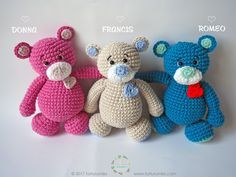 Amigurumi, Free Crochet Pattern: Sweet Heart Bears – Donna, Francis & Romeo - Tarturumies, stuffed toy, #haken, gratis patroon (Engels), beer, knuffel, speelgoed, #haakpatroon