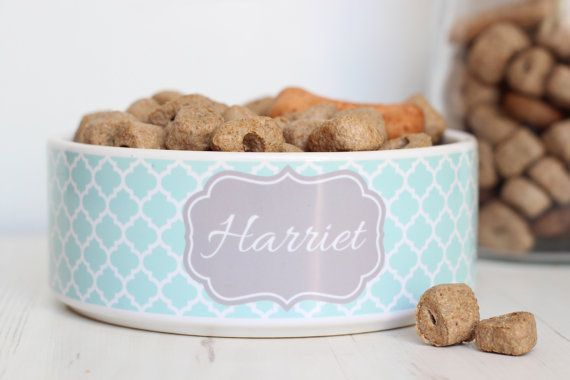 Personalised Pet Bowl  Dog Cat Feeding Dish  by WeLovePets on Etsy