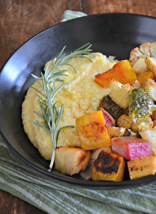 Creamy Polenta with Maple Roasted Winter Vegetables. This dish is EVERYTHING!! mountainmamacooks.com