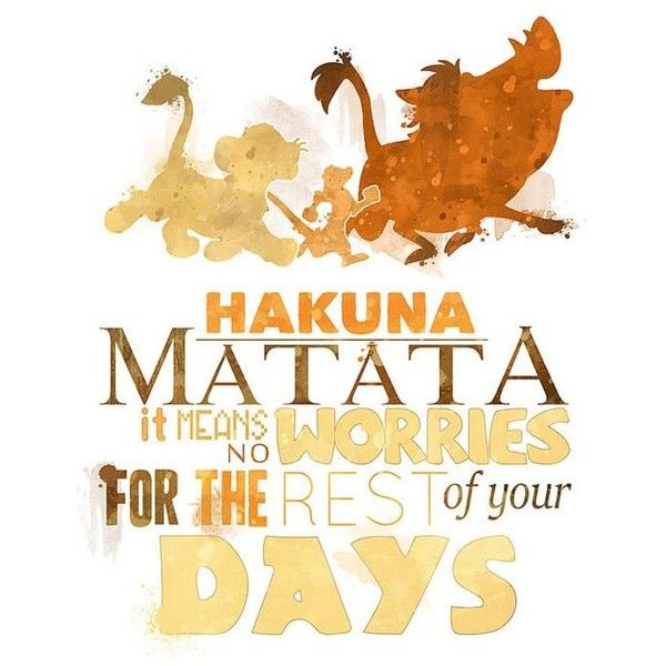 Hakuna Matata 8x10 Poster DIGITAL DOWNLOAD Instant Download Lion King... ❤ liked on Polyvore featuring home, home decor, phrase, quotes, saying, text and disney home decor
