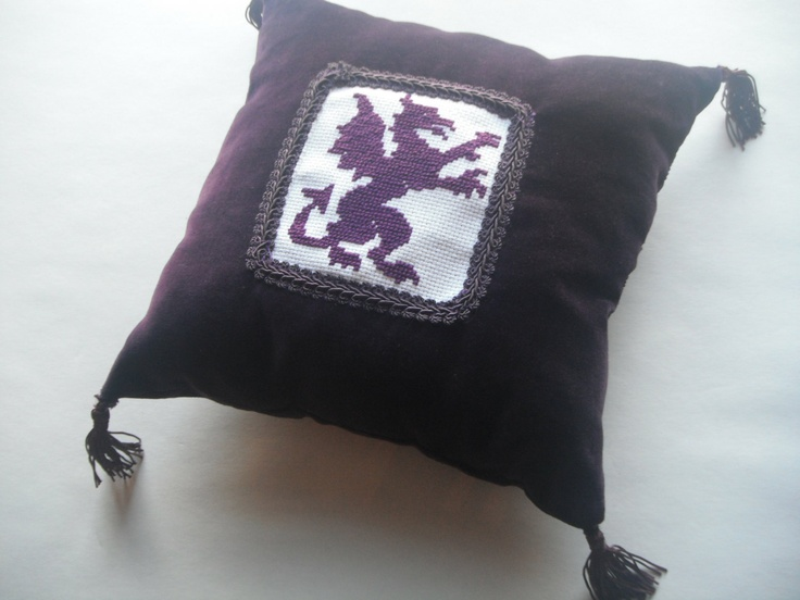 Mediaeval Inspired Purple Velvet Cross-Stitched Rampant Dragon Accent Pillow. $55.00, via Etsy.