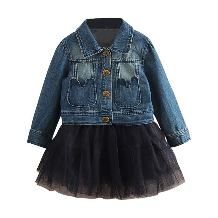 """Mud Kingdom Girls Denim Jacket and Black Skirt Clothes Set 5T. 2-Piece Set. Machine Washable. For Spring & Fall. Adorable Design, Comfortable Fabric and Much More Beautiful Than Pictures, Kids Will Like It As Gift. Please Read """"Size Specification"""" In """"Product Description"""" To Make Sure The Size You Choose Fits As Expected."""