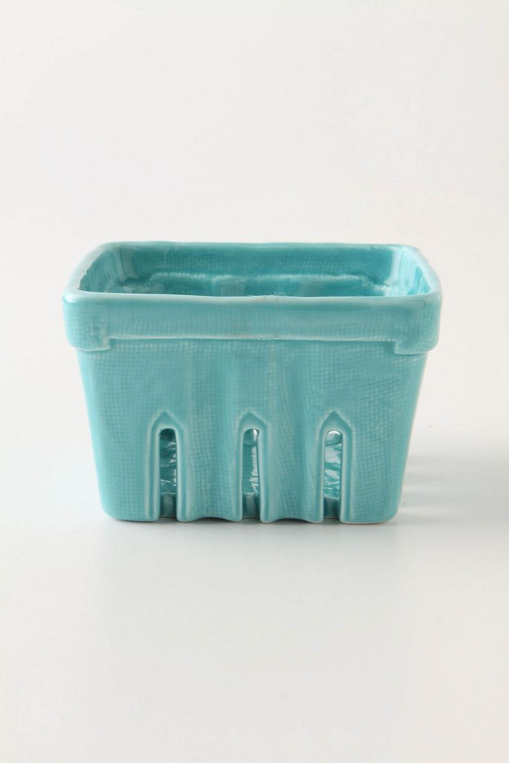 Stoneware berry basket in blue. Have this. Love it.