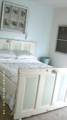 Old farmhouse door bed. So cool.