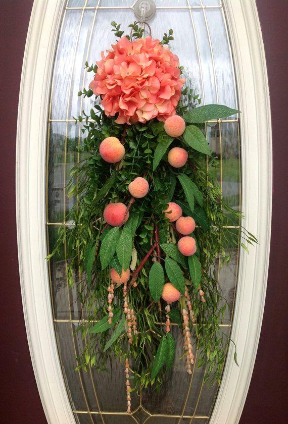 Spring Wreath Summer Wreath Teardrop Vertical Door Swag Decor..Peaches via Etsy