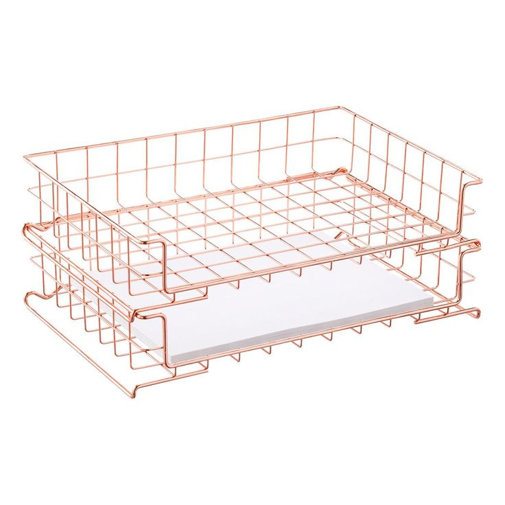 Copper Wire Stacking Letter Tray | The Container Store