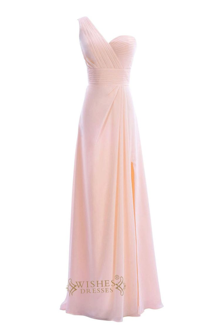 Pleated One-shoulder and Waistband Long Bridesmaid Dresses Am183