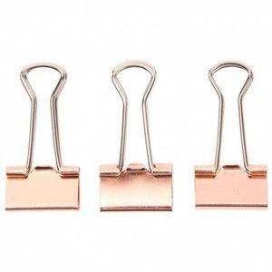 Rose gold binder clips pack of 24