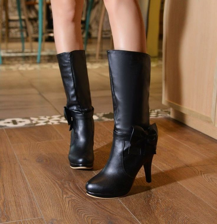 Womans Stylish Mid Calf Boots Round Toe High Sike Heels Bowknot Zipper