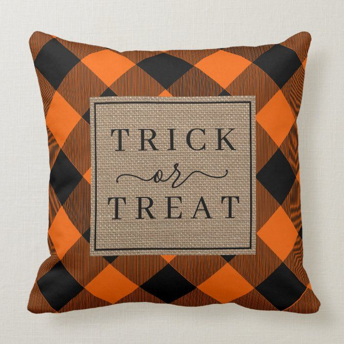 Trick Or Treat Halloween Orange Buffalo Plaid Throw Pillow Zazzle Com Plaid Throw Pillows Halloween Pillows Halloween Orange