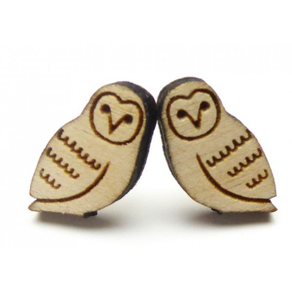 Owl Earrings Viva!Shop ($13) ❤ liked on Polyvore featuring jewelry, earrings, wooden jewelry, wood earrings, studded jewelry, earrings jewelry and laser cut wood jewelry
