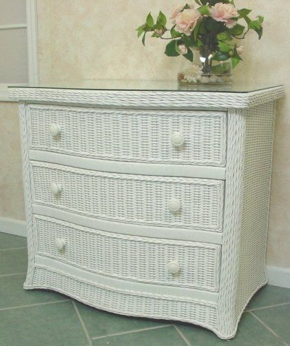 3 drawer white wicker dresser