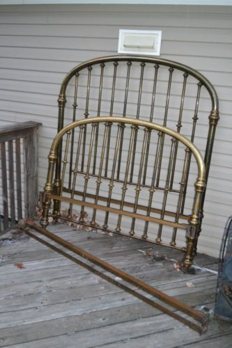 Antique Victorian brass bed Full size iron frame rails cast iron casters in Antiques, Furniture, Beds & Bedroom Sets, 1900-1950 | eBay