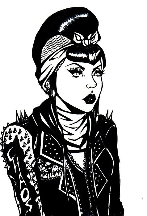 Drawing Of Punk Girl With Rockabilly Hair Psychobilly Love