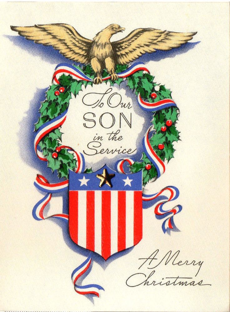 Vtg WW2 Era TO OUR SON IN THE SERVICE Patriotic Xmas Greeting Card w/ METAL STAR