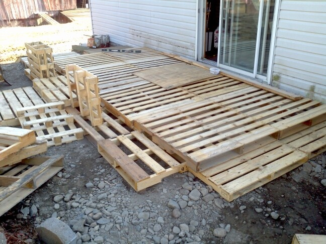 Making a deck out of wood palettes backyard pinterest for How to make a pallet deck