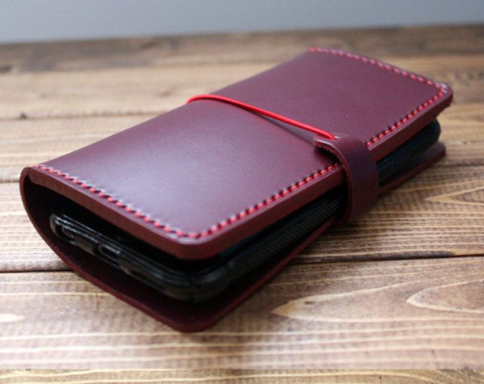 ITALIAN VEGETABLE TANNED Leather Case for Android Phone in Wine Red (Free Personalization) Hand Stitched Super sturdy Wallet