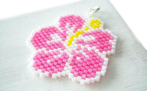 Tropical Hibiscus Flower Pendant or Charm, Beaded Flower, Brick Stitch Bead Weaving, MigotoChou Design