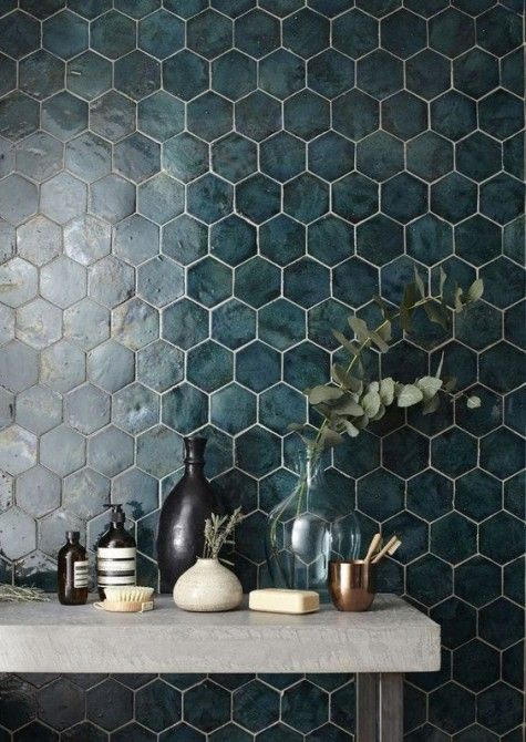 Dark Green Hexagon Tiles With White Grout For A Moody