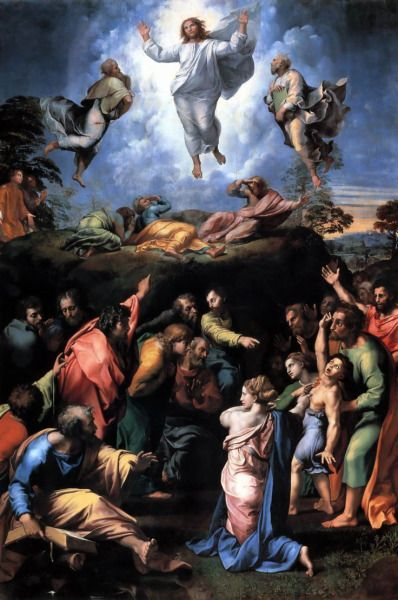 Raffaello Santi e Giulio Romano, Trasfigurazione, 1518 - 1520, olio su tavola, originariamente Chiesa di San Pietro in Montorio, ora Pinacoteca Vaticana (Città del Vaticano).