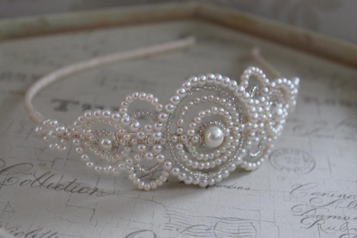 Handmade diamante tiara bridal headdress Art Deco Style wedding tiara crystal wedding headpiece vintage style side tiara. £149.00, via Etsy.