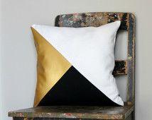 Geometric Black, White & Metallic Gold Pillow Cover, Gorgeous home decor Black and Metallic gold cushion cover. Throw Pillows Cushions