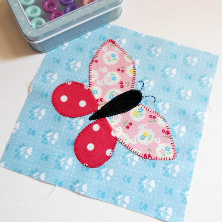 """My Butterfly Patch Mug Rug pattern now includes templates to create this 6"""" Butterfly Block."""