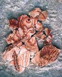 Affreschi dell'abbazia di San Vincenzo al Volturno. Il secondo quarto del IX secolo. Esempio del movimento pittorico longobardo beneventano, sono opera di artisti anonimi legati alla Scuola di miniatura beneventana, realizzati nel secondo quarto del IX secolo. Uno volto del profeto