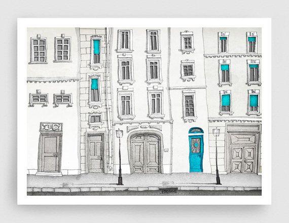 The magic door  - 5x7 Paris illustration - Paris art illustration print,Paris decor,Love,turquoise,blue,white,France,French fine art,Paris