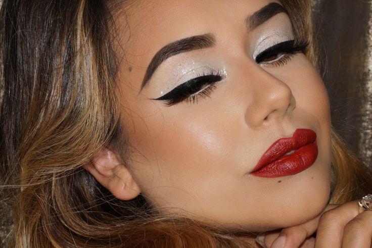 Holiday makeup Christmas white Eyeshadow red lip