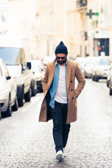 Layer your white tee with a denim shirt and camel coat. #menswear #layering #streetstyle