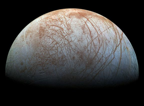 This view of Europa is based on information from NASA's Galileo mission of the 1990s. This new, remastered version, released in 2014, features more realistic colors, showing how the Jupiter moon would look like to the human eye.