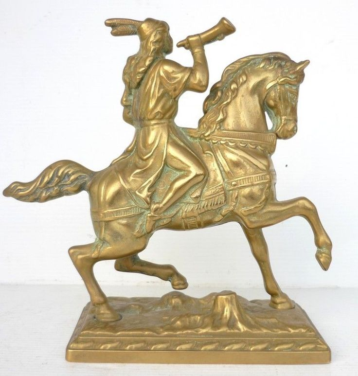 Beau Petit BRONZE Cheval Cavalier Cor de Chasse // eBay : jolibrocabrac // Small vintage bronze sculpture - Man and horse