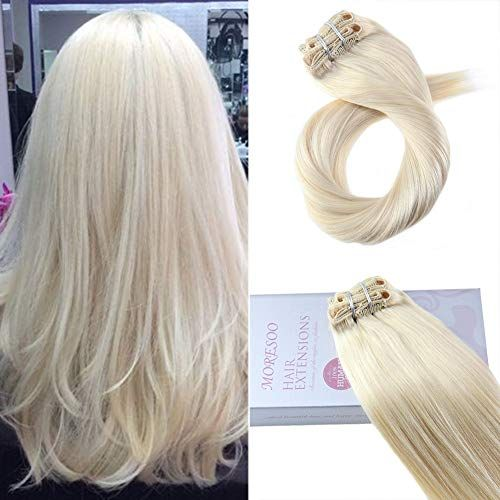 Best Seller Moresoo Clip Real Hair Extensions 24 Inch 120g Full Head Set Clip Hair Extensions 60 Double Weft Human Hair Extensions online